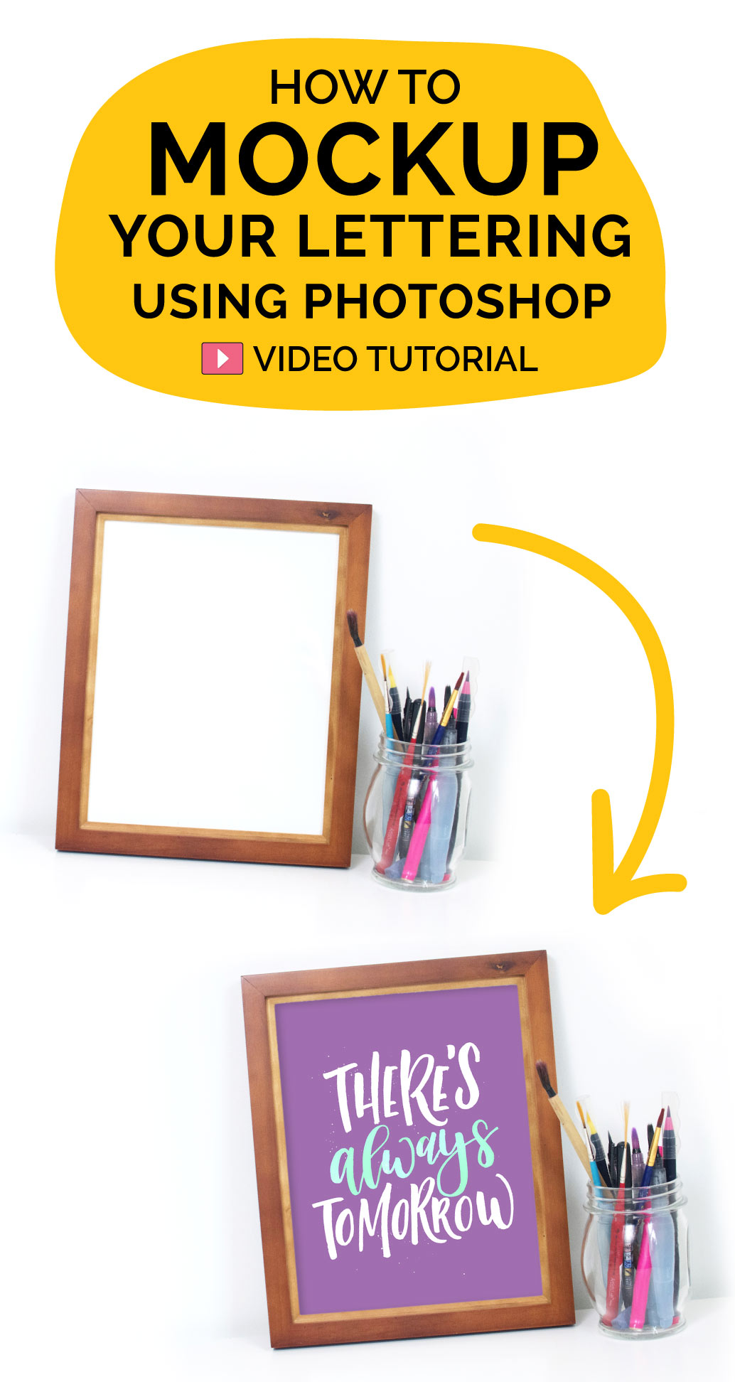 A video tutorial on how to mockup your lettering art inside of a frame. Part of the Phtoshop Course for beginners. You will need a frame and your art.