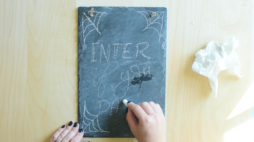 Sketch out your lettering with chalk, not chalk marker
