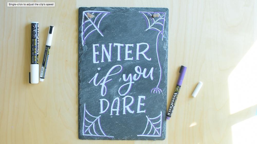 chalkboard lettering piece for halloween diy