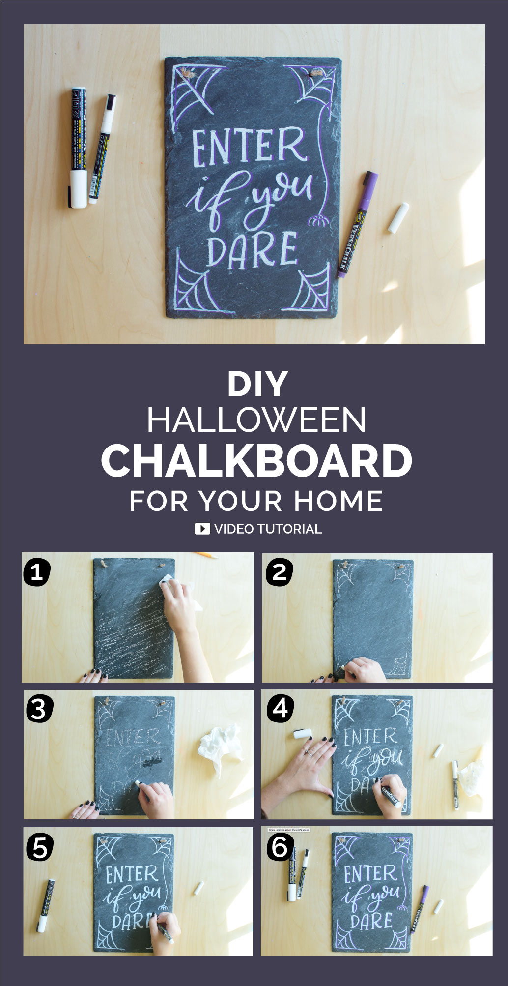 Make your own halloween door hanger. All you need is a chalkboard and chalk markers and your imagination. Follow these six steps to create this hand lettered chalkboard sign.