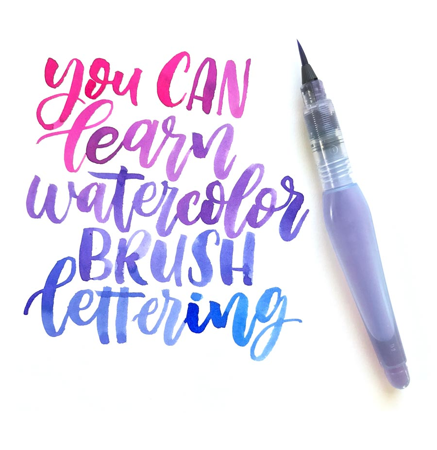 you can learn watercolor brush lettering twoeasels