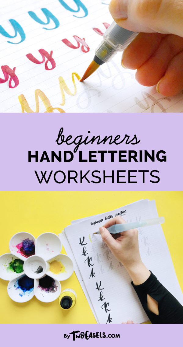 Learn how to do lettering with these worksheets. Perfect for Tombow markers or Pentel water brushes. Lettering worksheets for beginners.