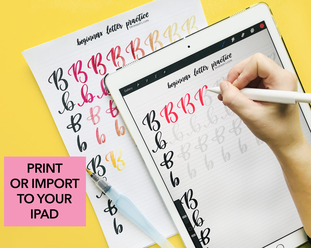 ipad and printable worksheets for hand lettering brush lettering