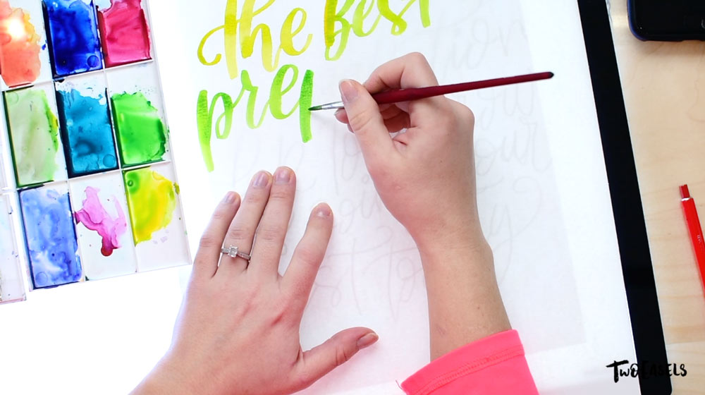 rainbow watercolor lettering