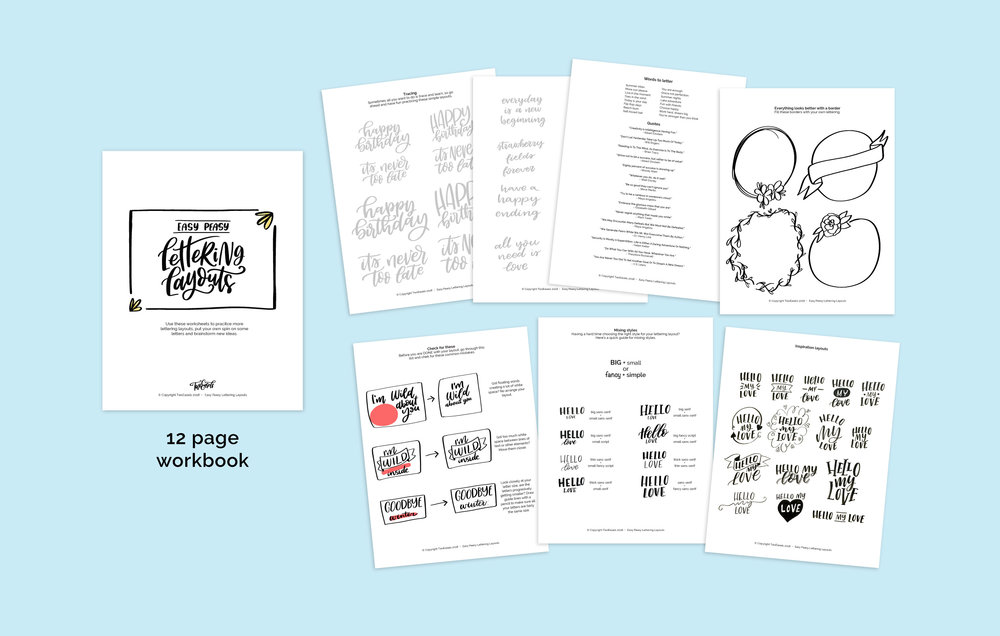 a 12 page PDF workbook on hand lettering layouts