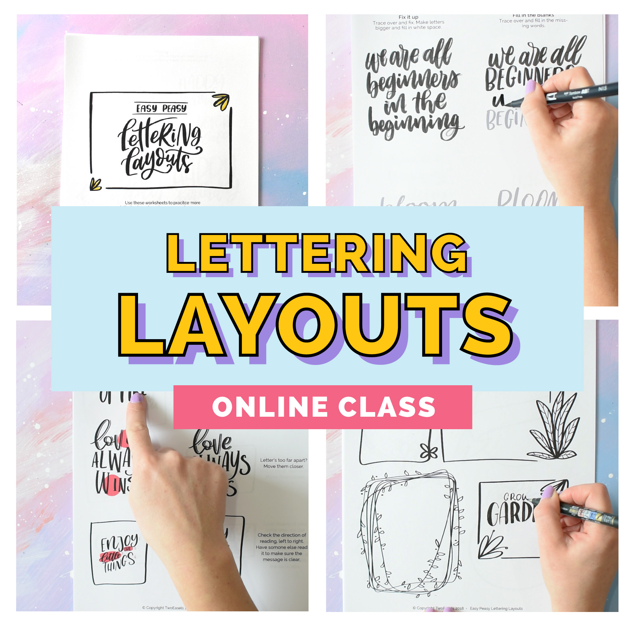 Learn how to create beautiful hand lettered layouts with this course. Easy Peasy lettering layouts. For the semi beginner.