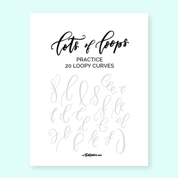 modern calligraphy loop practice sheets TwoEasels hand lettering