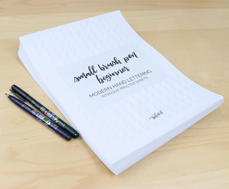 small brush pen beginner practice lettering worksheets