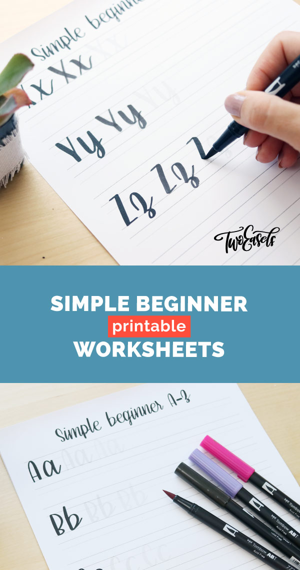 simple worksheets for brush lettering beginners who want to start their lettering practice