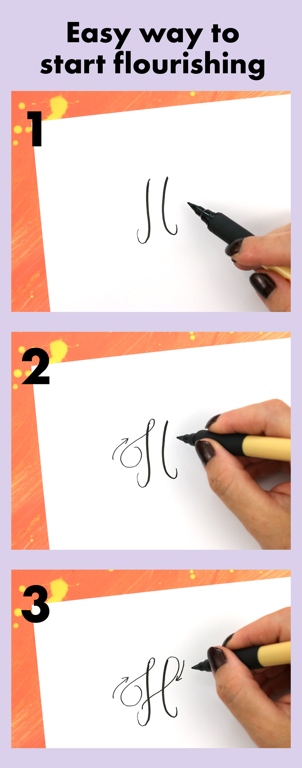 Three easy steps to adding flourishes to your letters.