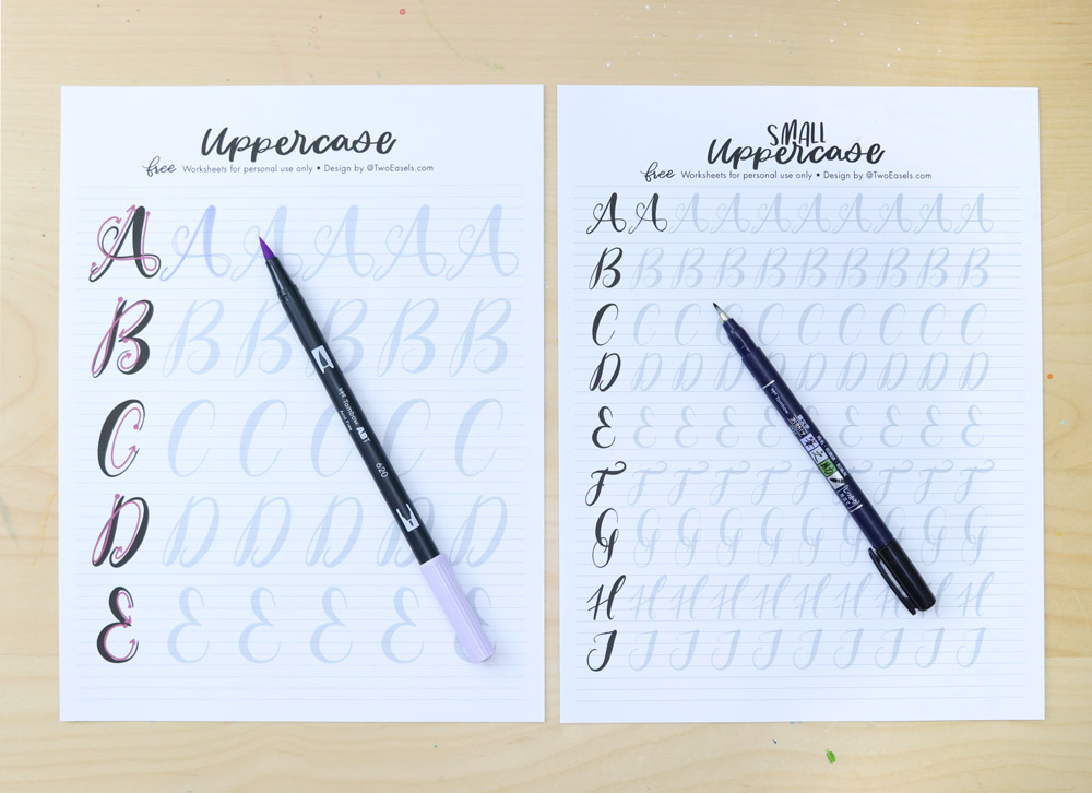 brush lettering worksheets for practice