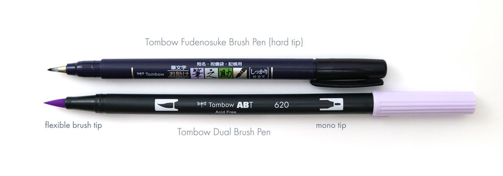 Tombow fudenosuke vs tombow dual brush pen for hand lettering worksheets