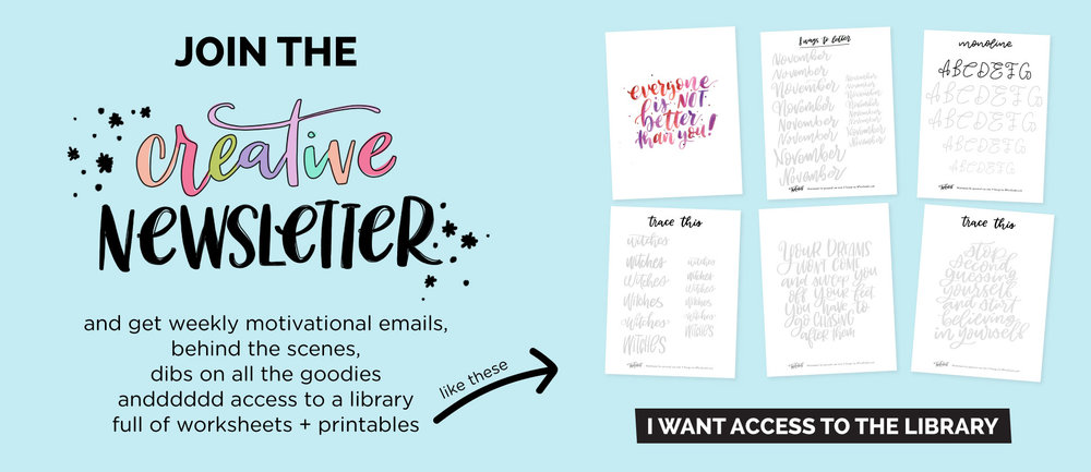 creative newsletter free worksheets, printables and lettering goodies