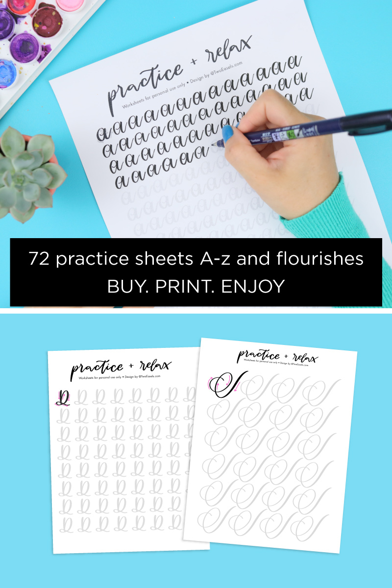 New brush lettering worksheets to help you practice your strokes, flourishes and also relax you #brushlettering #moderncalligraphy