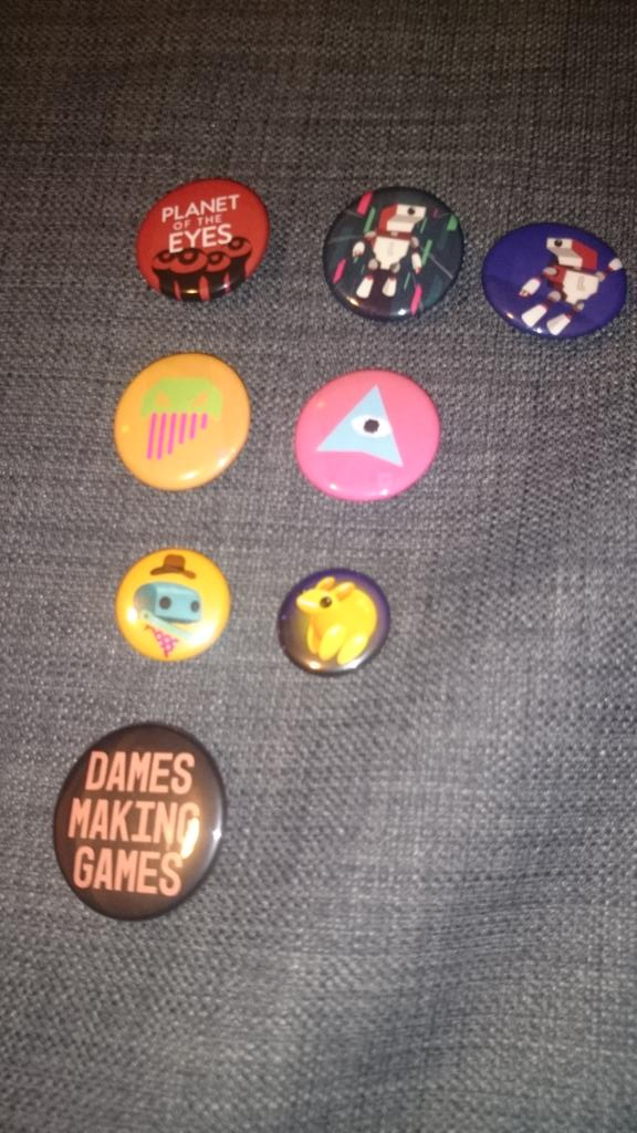 Pins! These pins are from (top to bottom): Planet Of The Eyes, WE ARE DOOMED, GastroBots, Dames Making Games.
