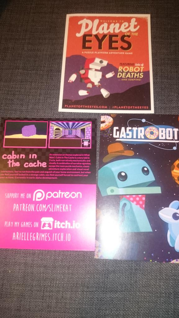 Cards from Planet Of The Eyes, GastroBots, and Arielle Grimes