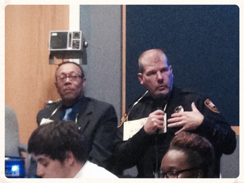 Wheeling NAACP President Darryl Clausell (left) and Police Chief Sean Schwertfeger agreed  during an April 30 forum on justice for blacks and whites at Wheeling Jesuit University that they should meet.