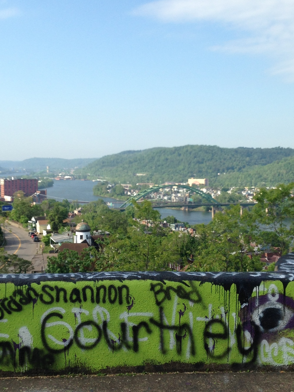 Graffiti at the Mt. Wood Overlook competes for attention with the commanding view of the Ohio Valley.