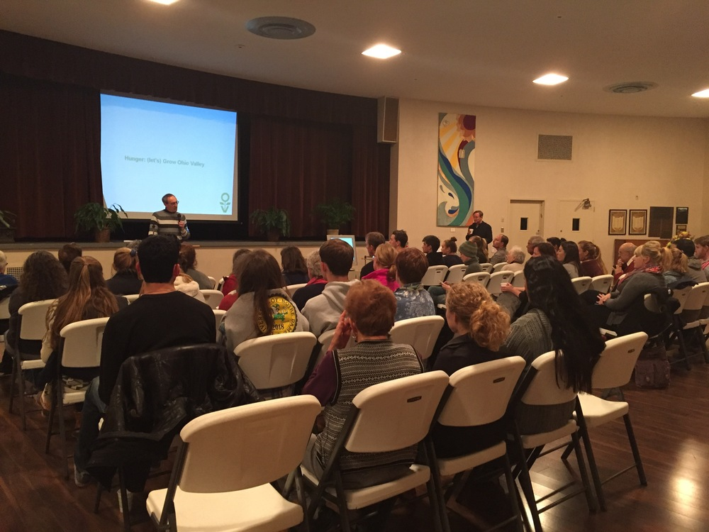 Temple Shalom was packed Sunday to hear Ken Peralta and Danny Swan address food insecurity in the Ohio Valley.