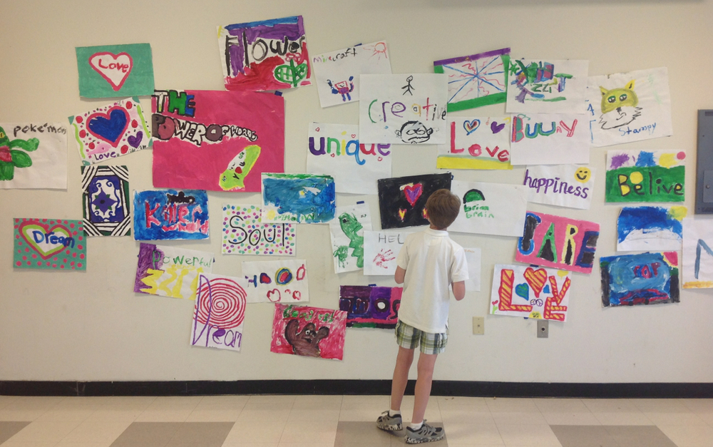 The wall of inspiration.  Highland Intermediate after school program.  highland Falls, NY