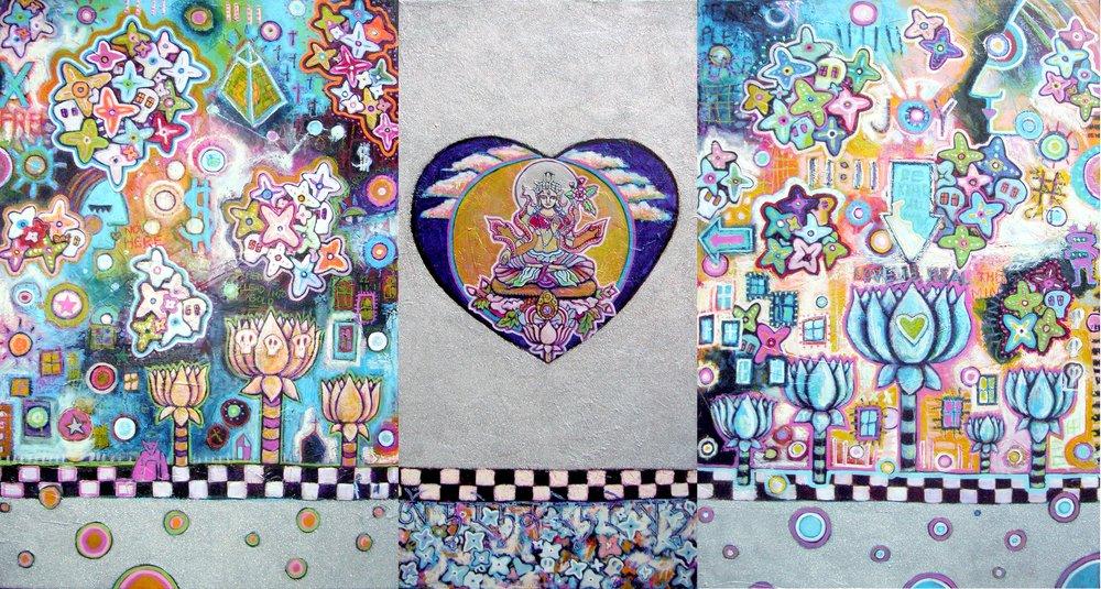 """White Tara, Long Life, Prosperity"" 12' x 6' acrylic, glitter and oil crayon on canvas"