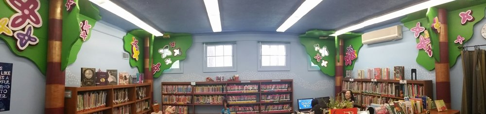 tree iInstallation at the Woodstock Public Library, children's section. Project Director Richard issacs.