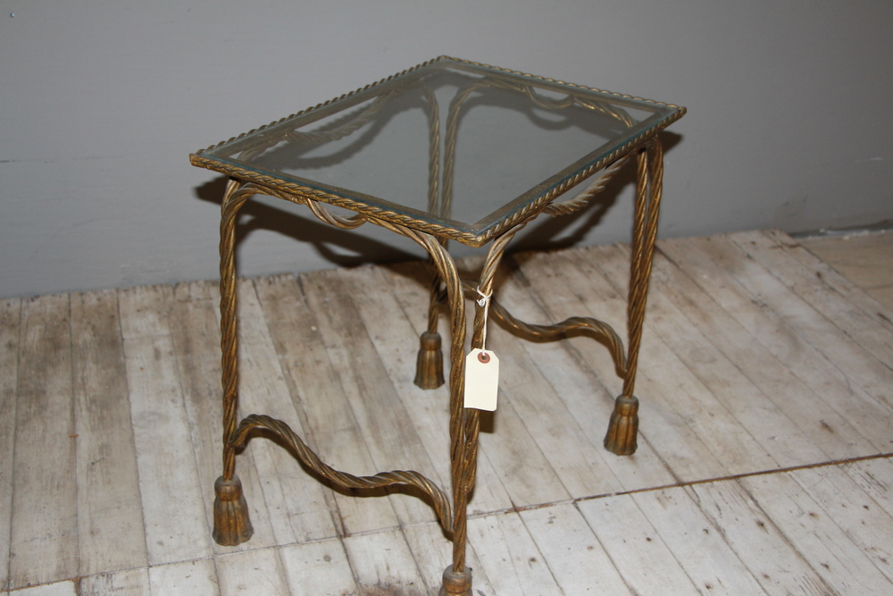 Gwilded Iron Table with Glass Top