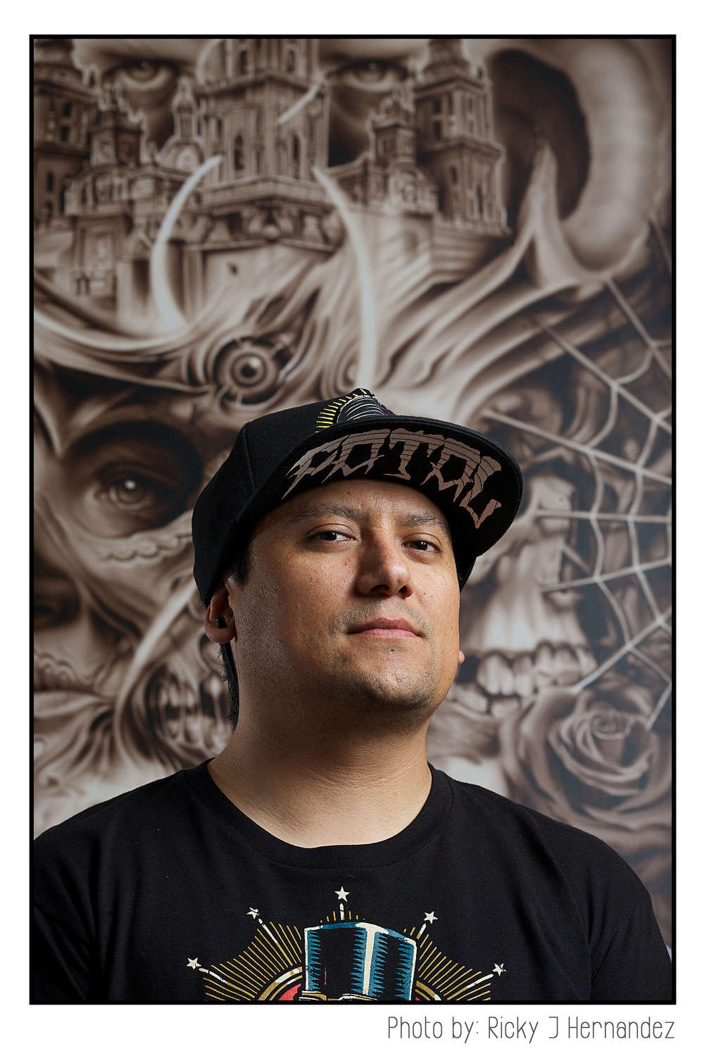 Photos for a tattoo magazine. Portraits of artist Rebel Hernandez. Tattoo & airbrush artist.