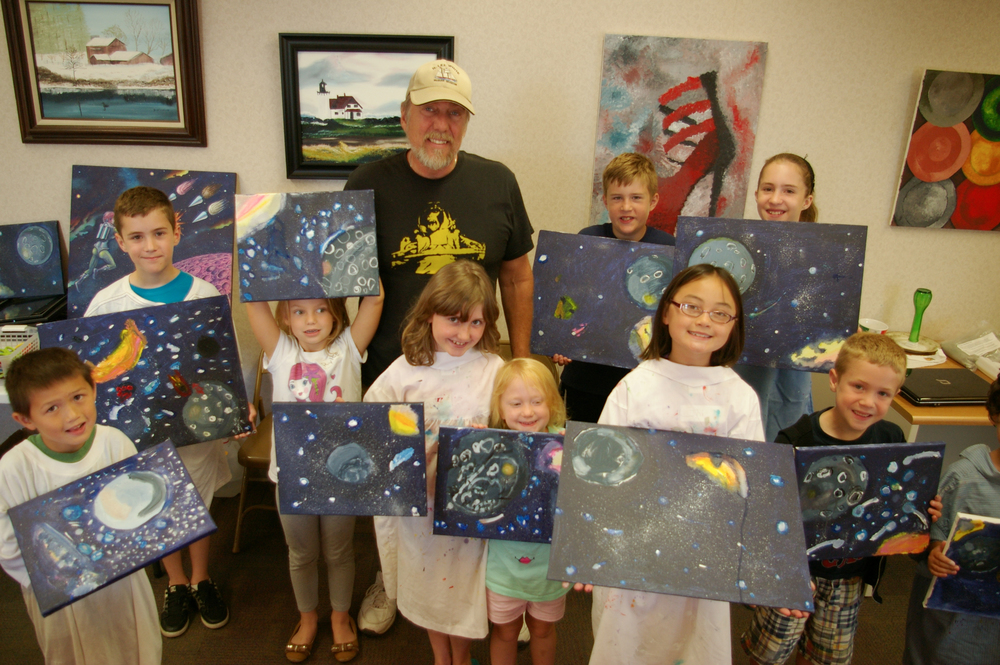 Artist Don Gillespie and the kids at Arty Camp 2015 show off their new paintings!