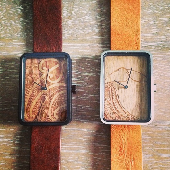 Adhesive backed real wood veneer etched watch face.