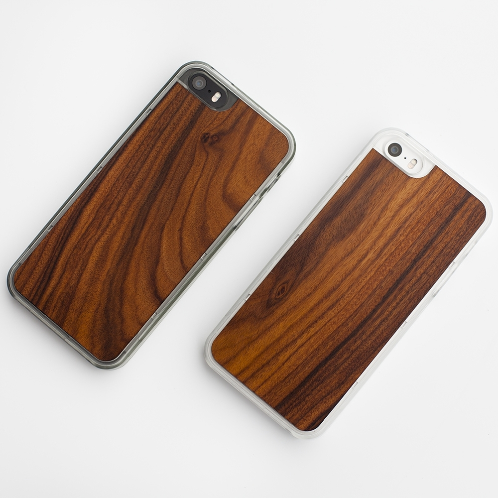 Material6 wood-inlay cases for iPhone 5/5S.