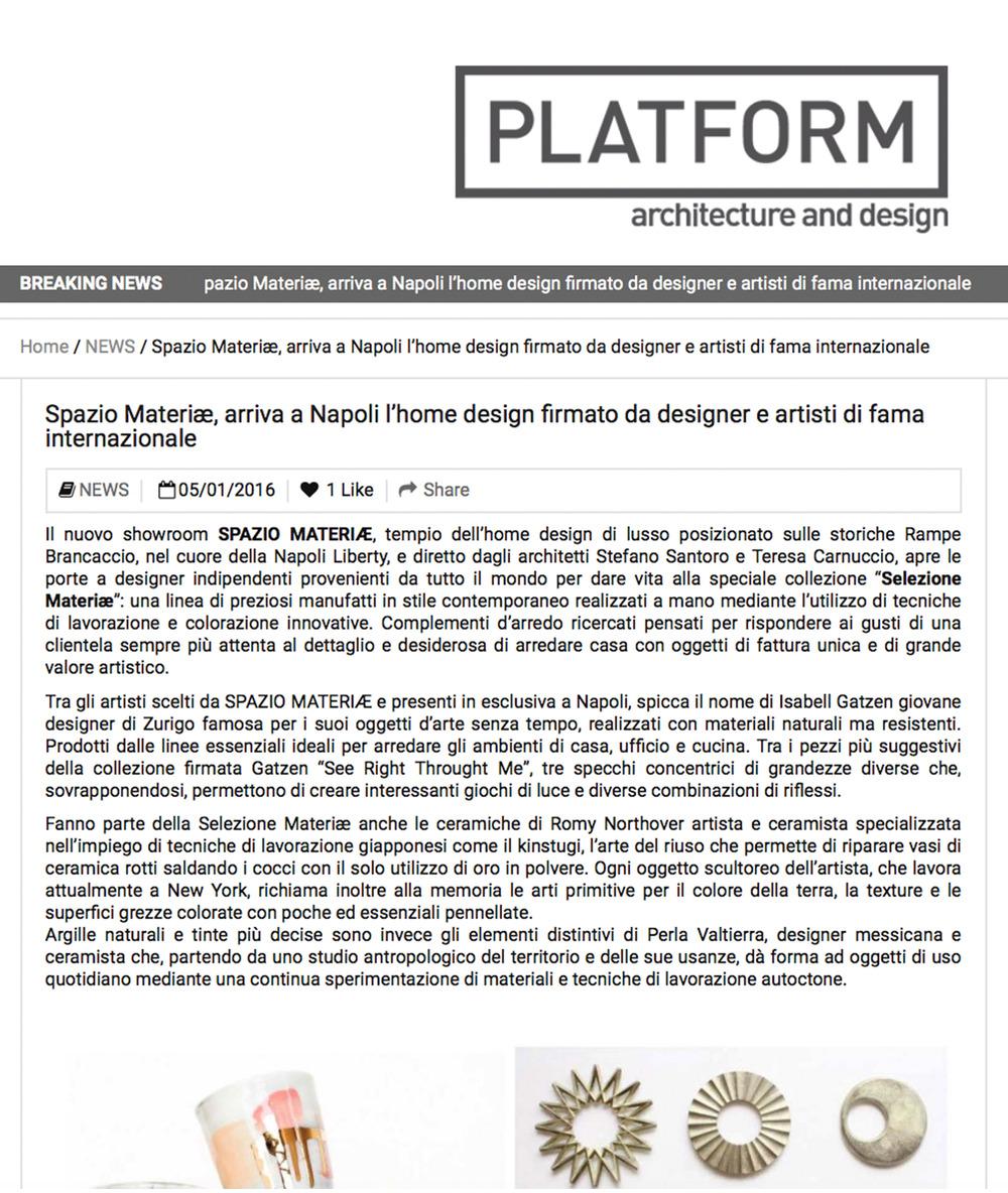 AD Platform - Spazio Materiae home design e oggettistica di ricerca e  di lusso a Napoli Chiaia