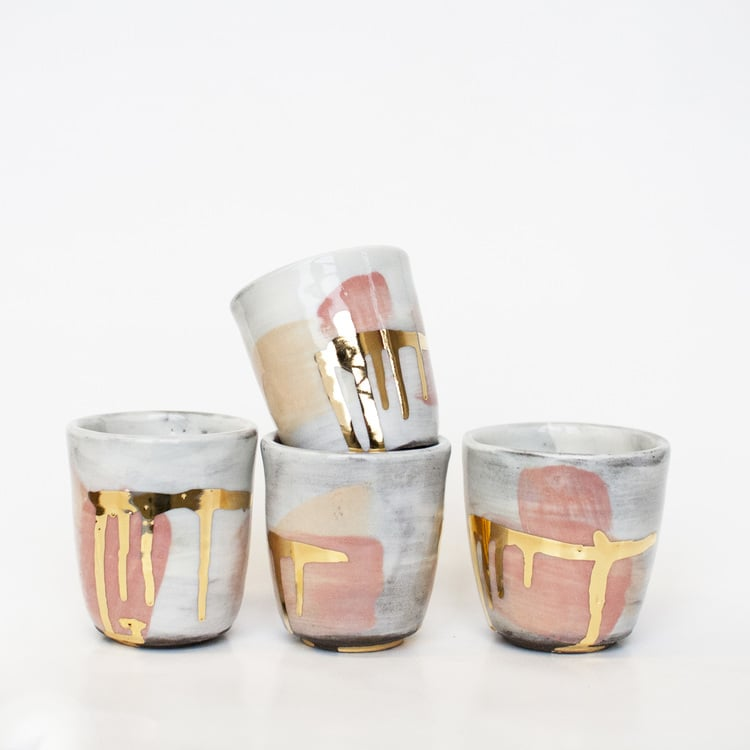 ROMY NORTHOVER NO CERAMIC CUPS ONE OF A KIND 22KARAT CLIMAX PINK GOLD FOIL SPAZIO MATERIAE NAPOLI LUXURY DESIGN.jpeg