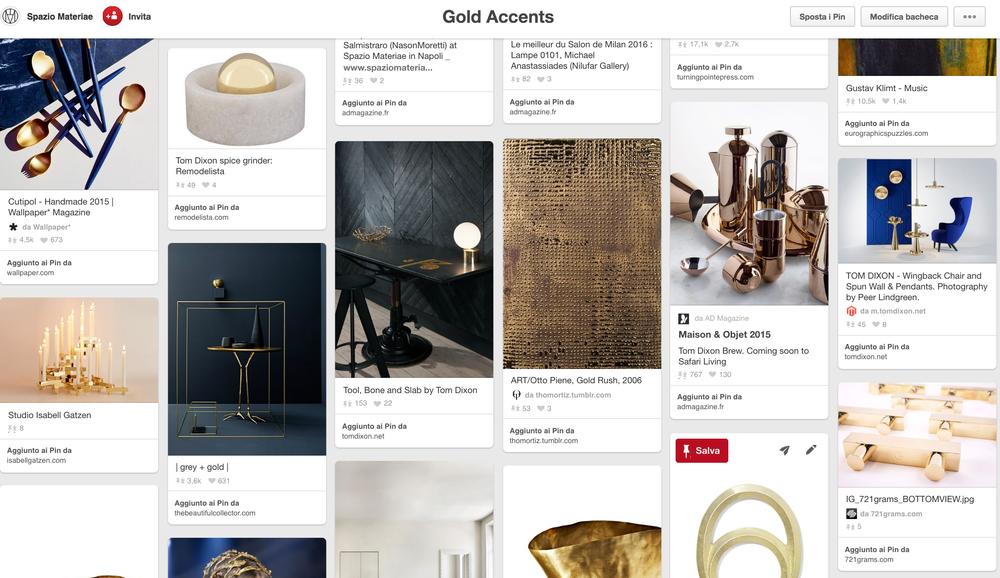 Gold accents _ bacheca sui toni dell'oro di Spazio Materiae su Pinterest