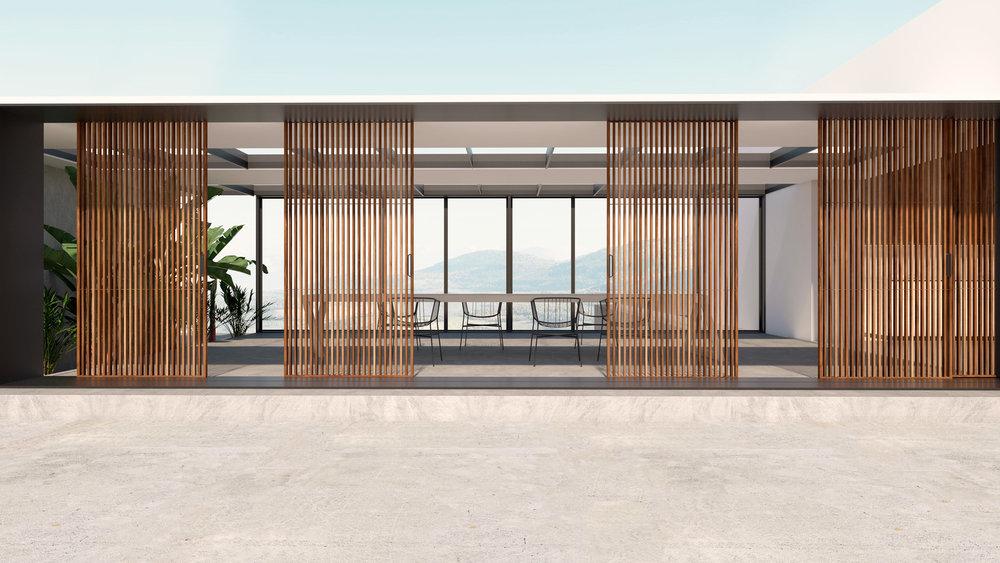 Sala da pranzo-patio // Porte scorrevoli Sail Rimadesio _ Tavolo 196 Rotor Cassina _ Sedie outdoor Jeannette Sp01 Design