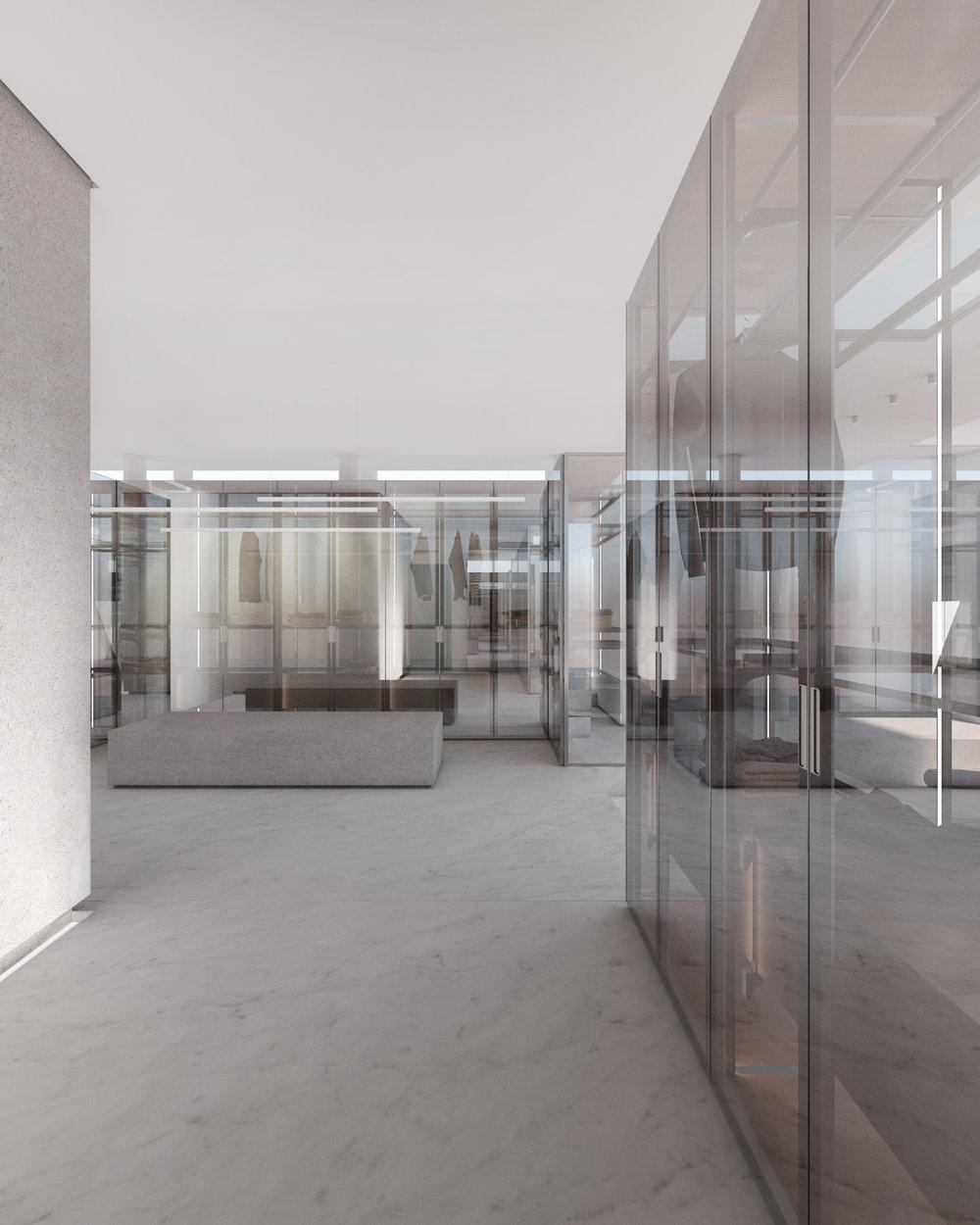 Vista della zona vasche e della dressing room con sistemi Cover Rimadesio.