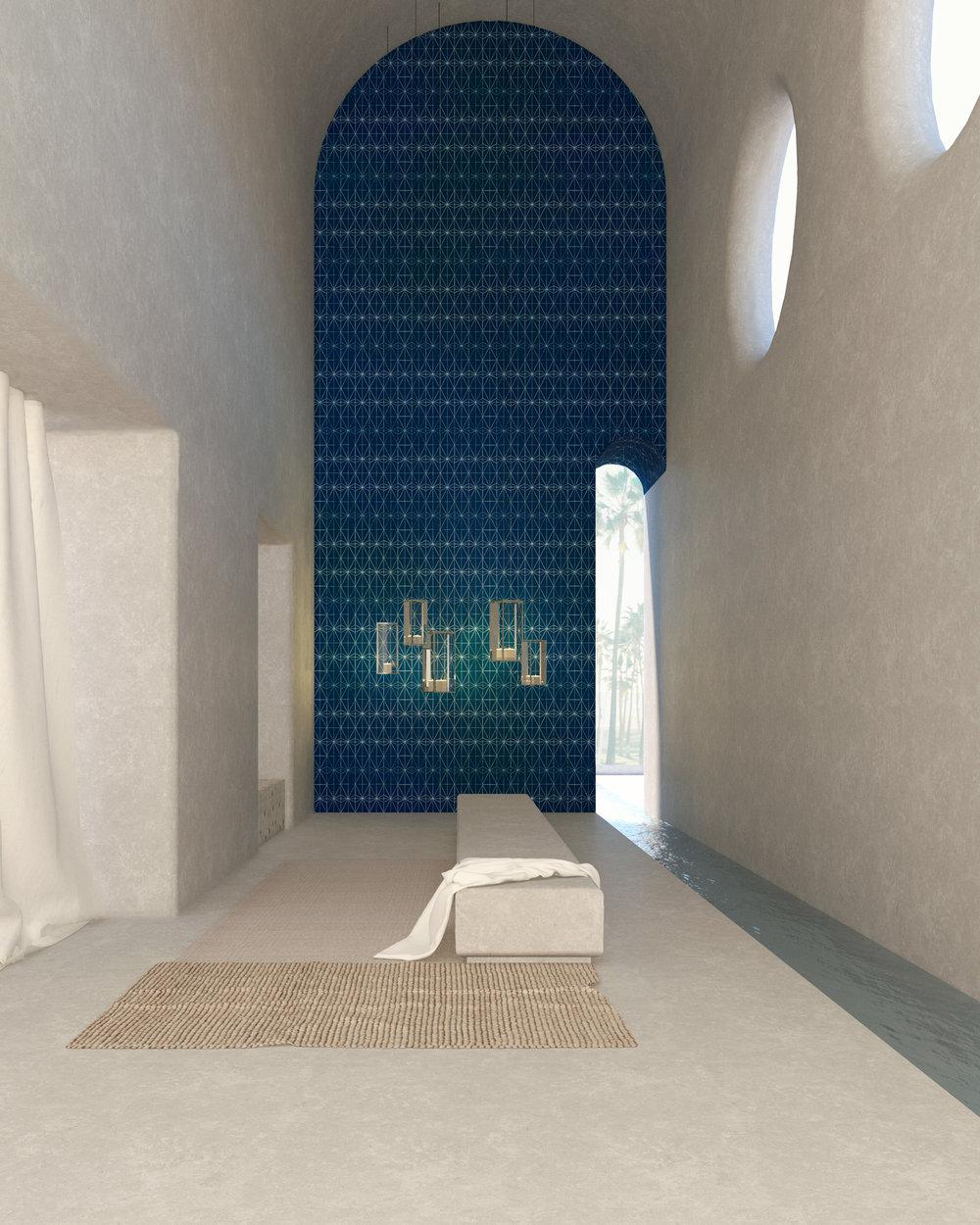 Area bagno e della zona relax // Tappeti Kvadrat _ Maioliche Ateliers Zelij _Superfici in cemento crudo