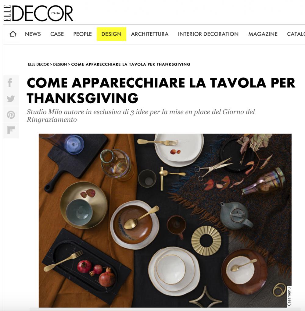spazio materiae napoli su elle decor italia _ la tavola di thanksgiving by studio milo _ futagami _ forme di farina _ cutipol _ nason moretti _ kwm1924 _ ottone