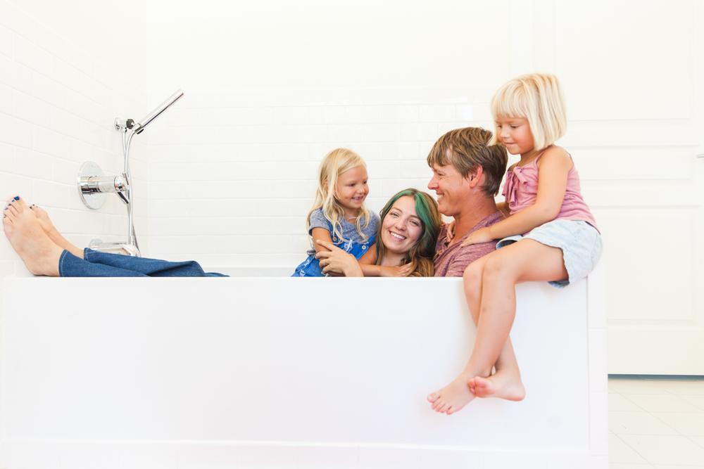 Sweet little family in the bathtub.