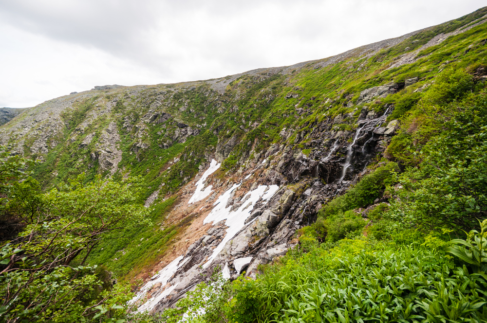 Tuckerman's Ravine and the snow covered area that had kept the trail closed even   in the final days of June. (Click to enlarge image)