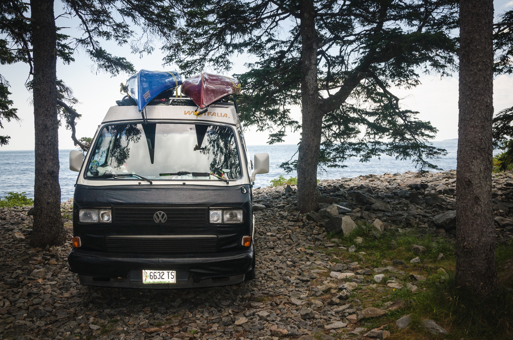 Seeing a van parked in Acadia National Park, Maine feeds my wanderlust for #vanlife.