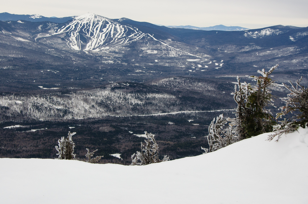 Seeing Sugarloaf from Bigelow Mountain Range, Maine, USA January 2015