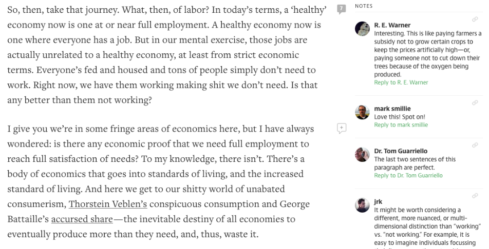 Online discussion observation example (https://medium.com/@RickWebb/the-economics-of-star-trek-29bab88d50)