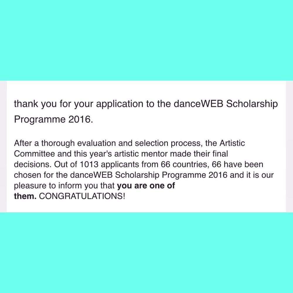 Accepted to Danceweb 2016