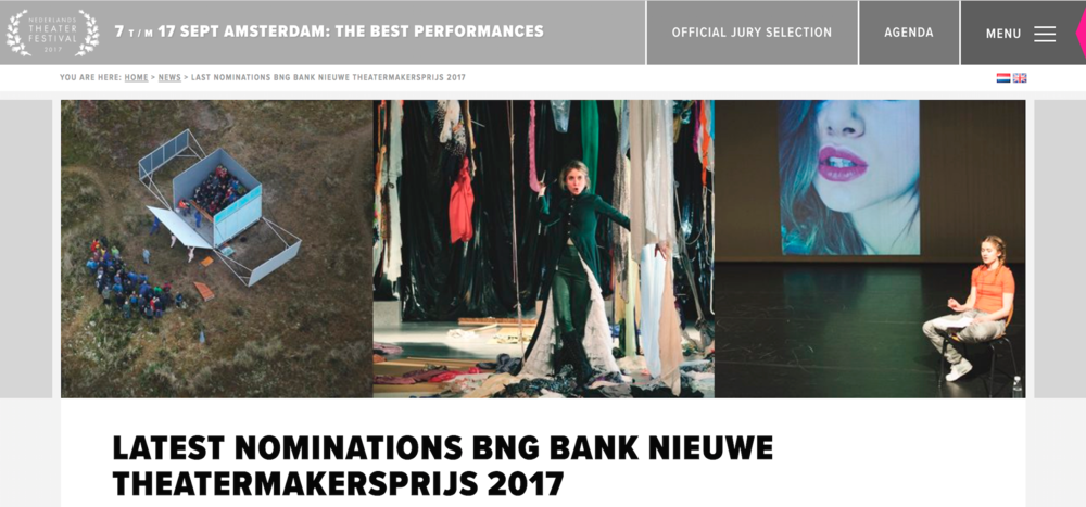 wow 😍 Being nominated for the BNG Bank Nieuwe Theatermakersprijs, prize for the most promising young theatre makers. Ceremony is in September!!! ♥️✨🎉