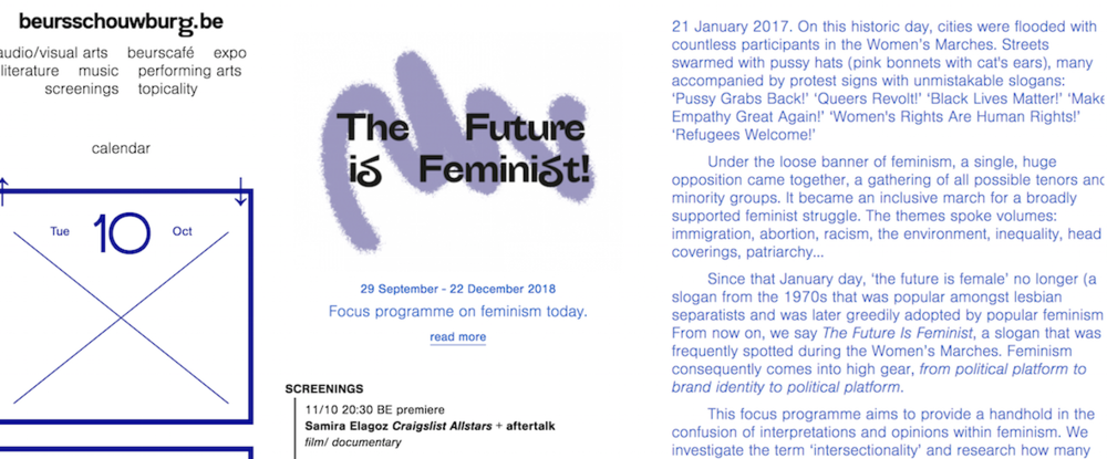 Craigslist Allstars at Beursschouwburg 11th of October at 8.30pm + aftertalk in their program THE FUTURE IS FEMINIST