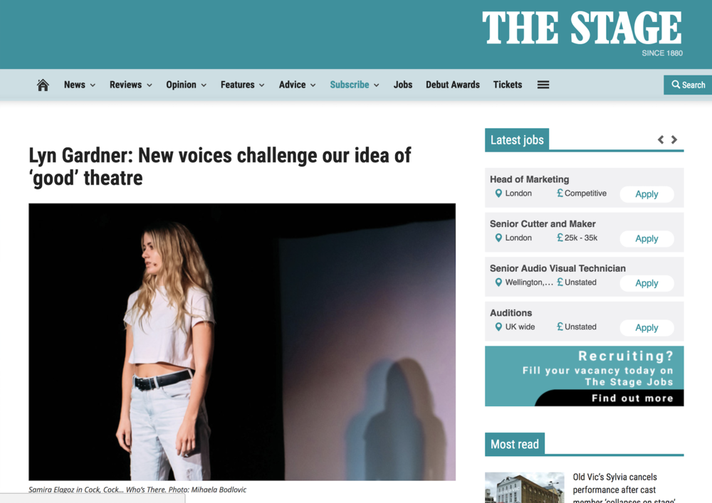 "THE STAGE     Article:  ""Lyn Gardner: New voices challenge our idea of 'good' theatre"""