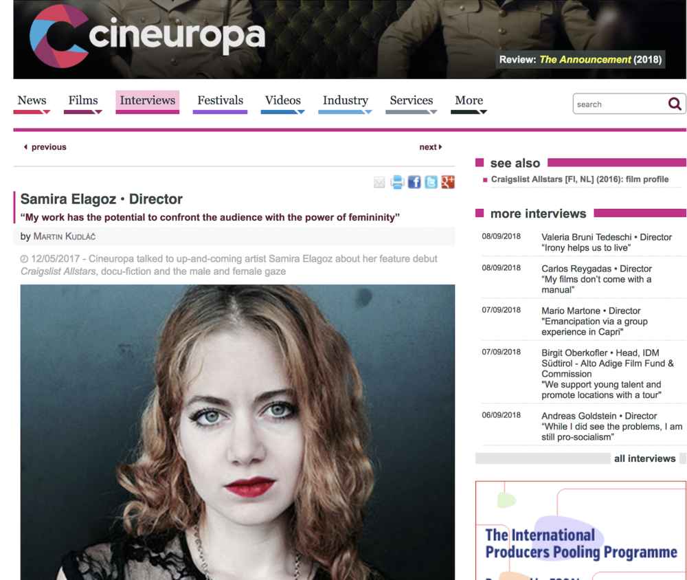 "CINEUROPA     Interview:  ""Cineuropa talked to up-and-coming artist Samira Elagoz about her feature debut  Craigslist Allstars , docu-fiction and the male and female gaze"""