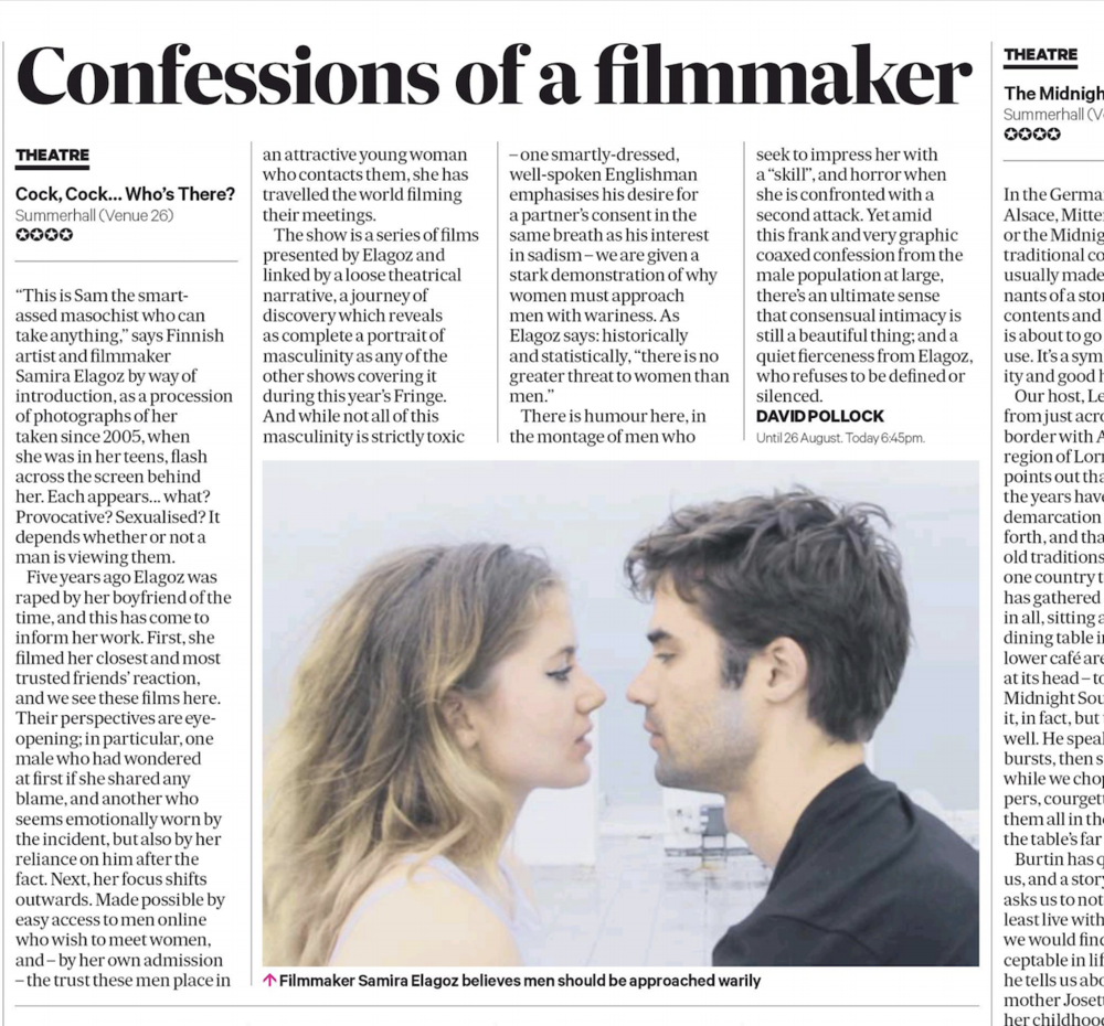 "SCOTSMAN    Review:  ""  ( ★★★★)  ..there's an ultimate sense that consensual intimacy is still a beautiful thing"""