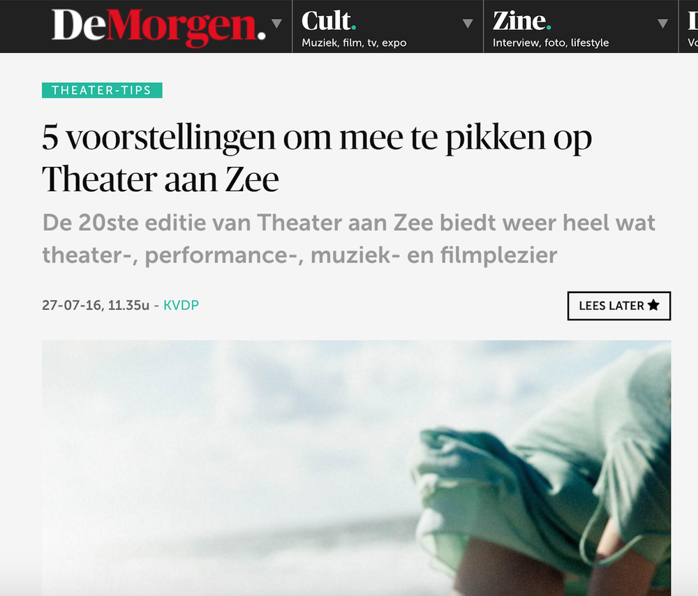 "DE MORGEN    Recommendation:  ""Five must-see shows at Theater Aan Zee festival"""